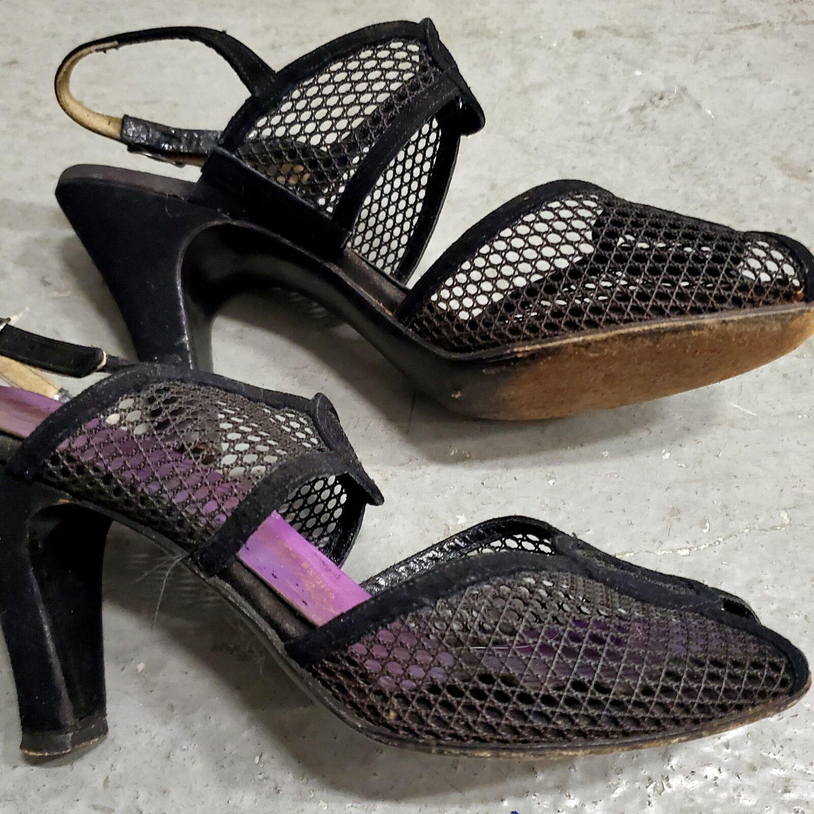RARE 1940s Vintage Period Open Toe Mesh Sandals S… - image 5