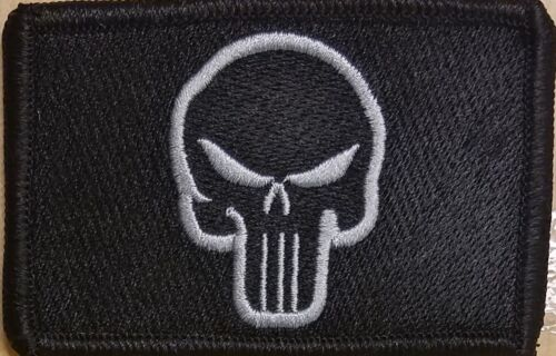 The Punisher Patch W// VELCRO® Brand Fastener Tactical Morale Gray Version #2