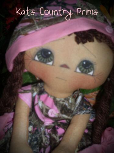 Primitive Raggedy Ann style Hunt Like a Girl Kats Country Prims Pattern #1155