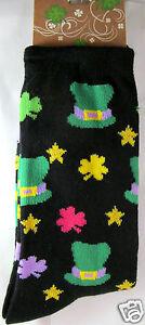 K.Bell St Patricks Green Black Lucky Socks Shamrocks Ladies Crew Socks New