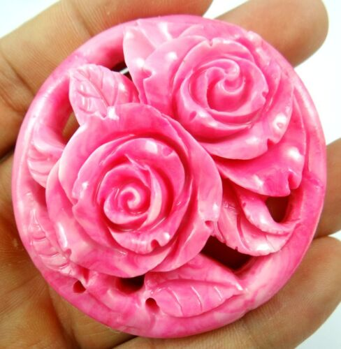 60*58MM Chinese Organic Cinnabar Pendant necklace hand-carve of flower D10