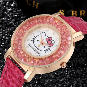 Hello-Kitty-Haute-Qualite-Strass-Bracelet-en-Cuir-Crystal-Watch-Filles-Femmes-USA
