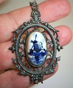 Vintage-Blue-White-Porcelain-Pendant-Necklace-DELFT-Windmill-Silver-Tone-20-034