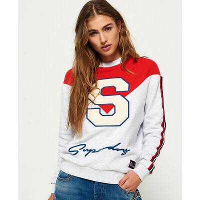 Superdry Mujer Jersey Statement Crew Ice Gris Marga