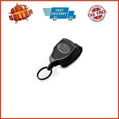 2x Retractable Key Tool Reel Holder Steel Clip Chain Belt Heavy Duty Split Black