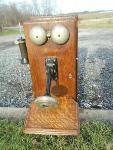 Sku Vintage Antique Wood Wall Phone Crank 20329 Western Electric Black