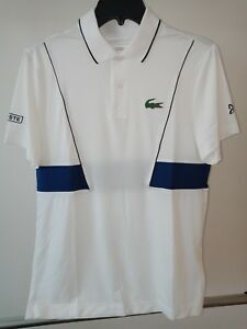 Lacoste Sport Novak Djokovic Men S Tech Pique Tennis Polo White Blue Small Ebay