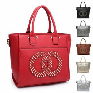 ec2bd06e2f5 Details about Ladies Designer Studded Bucket Shoulder Bag Faux Leather  Handbag MW2813