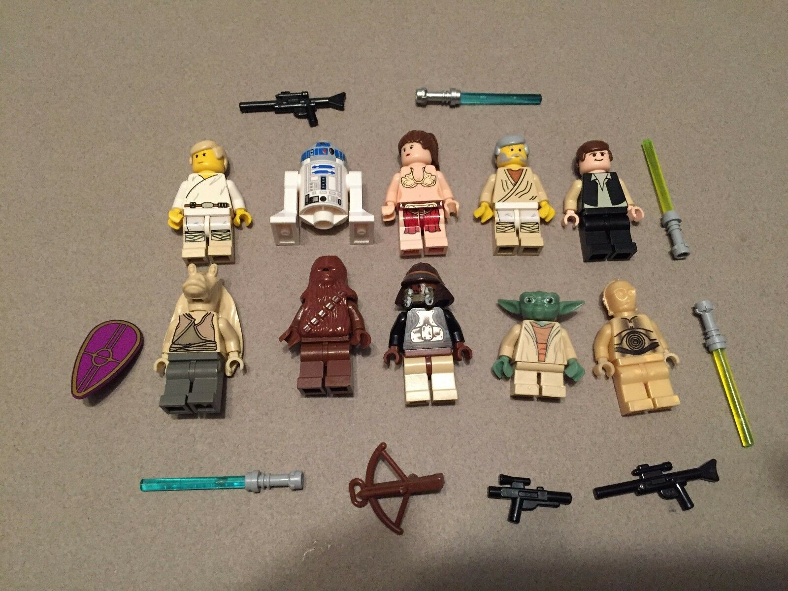LEGO lot of 10 Star Wars Good Guy Minifigs Yoda Luke Leia Han R2-D2 Chewie Q332