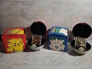 Pikachu 1999 Pokemon AND Togepi 23K Gold-Plated Trading Card/Ball Burger King