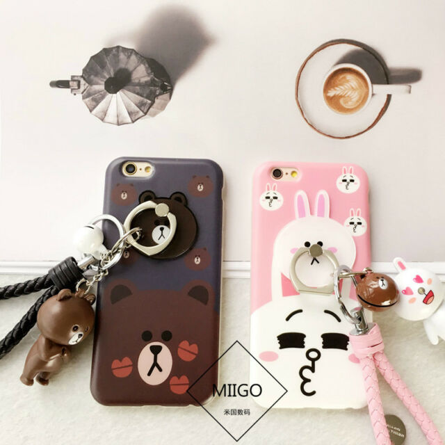 Kiss Bear Brown Bunny Cony Ring Holder Keychain Strap Case for iPhone 6 6S Plus