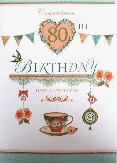 """Ladies Traditional Shabby Chic Tea Party """" 80th """" Birthday Card"""