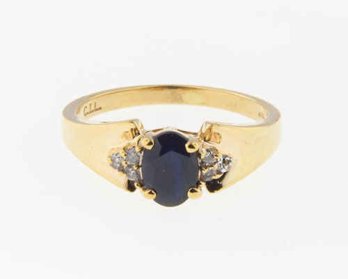 Estate 1.10CT Natural bluee Sapphire Diamonds Solid 10k gold Ring FREE Resizing