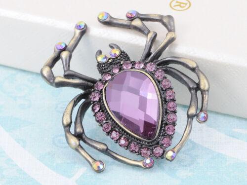 Purple Diamante Rhinestone Violet Enamel Acrylic Spider Pin Brooch Design Gift