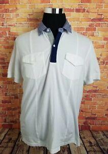 98a9fe5e8fd Barque Mens Size XL Polo Shirt White Pocket Navy Blue Check ...