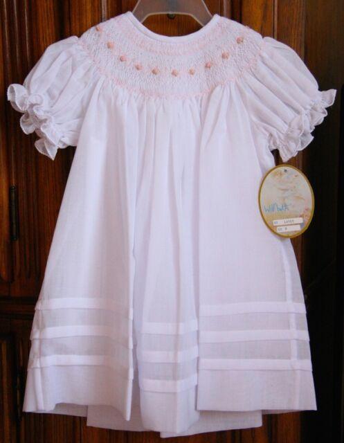 Will'beth Newborn Infant Baby Girl Smocked White Pink Bishop Dress 0 9m NWT