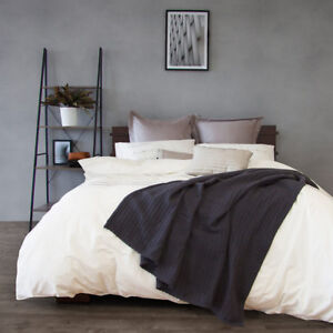 Ardor-100-Cotton-Waffle-Blanket-Lightweight-Charcoal-Queen-King-Size-RRP-170
