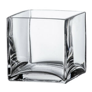 4 Quot Square Clear Glass Vase Cube Centerpiece 4x4x4 Wedding Decoration Handmade Ebay