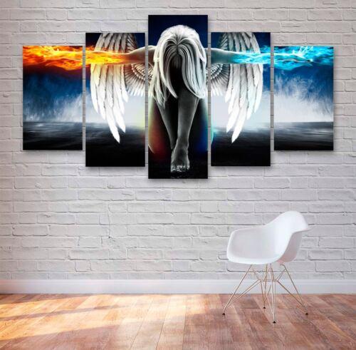 Multi Panel Canvas #177 5 Piece Wall Art Fire /& Ice Angel 5 Panel Canvas