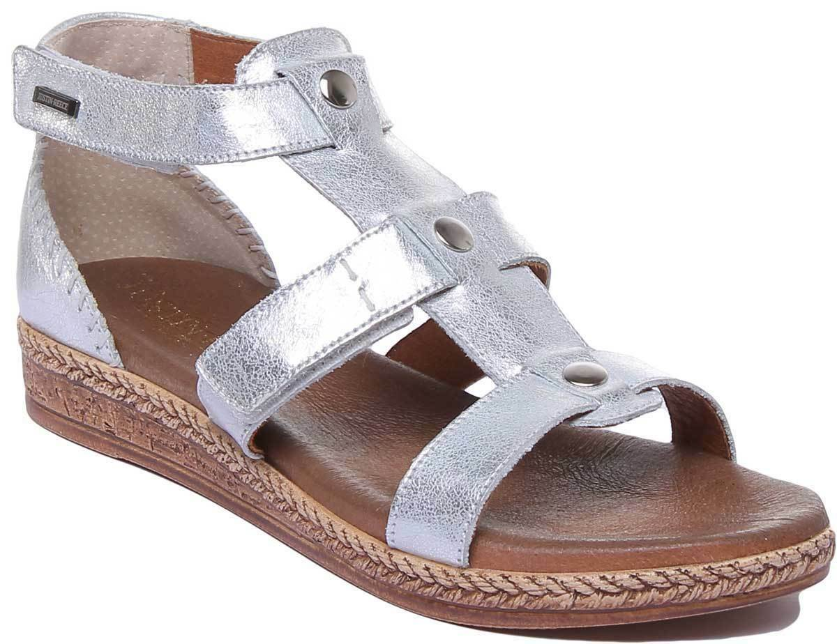 Justin Reece 7800 Womens Mini Wedge Strap Sandals In Silver UK Sizes 3 -8