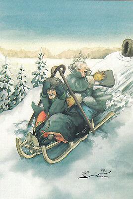 Postkarte 217 Nr Inge Löök Zwerg füttert Vögel im Schnee
