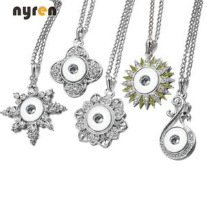 07b5b021cb 5pcs Multi Styles Snap Charms Pendant Necklace Fit 18mm Snap Button ...