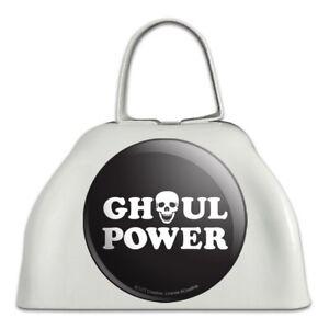 100% Vrai Ghoul Power Crâne Fille Drôle Humour En Métal Blanc Sonnaille Vache Bell Instrument-afficher Le Titre D'origine Vif Et Grand Dans Le Style