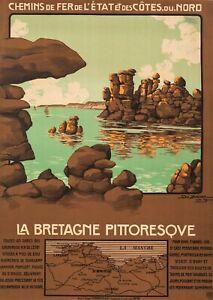 Original French vintage travel poster-Geo Dorival-BRETAGNE-SAINT MALO 1909
