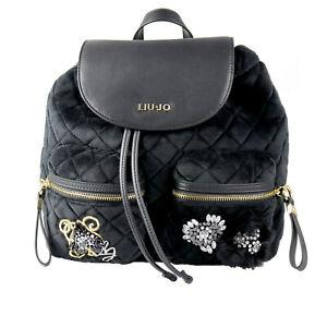 Liu-jo-mochila-back-pack-034-Brenta-Velvet-034-n68062-t9093-terciopelo-acolchada-negro-oro