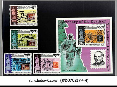 Set Of 4-stamps & 1-m/s Mnh 2019 Official 1979 Death Centenary Of Sir Rowland Hill Bhutan