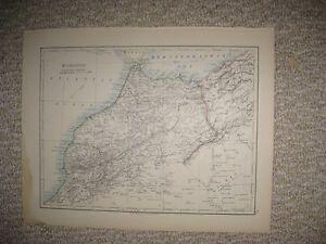 Middle East Map Sinai Peninsula.Antique 1890 Morocco Lower Egypt Sinai Peninsula Arabia Middle East