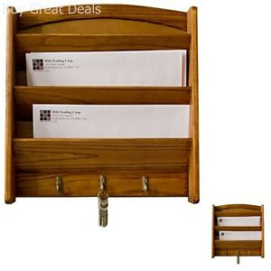 Wall Mount Letter Holder Mail Key Sort Rack Wood Storage Box Home