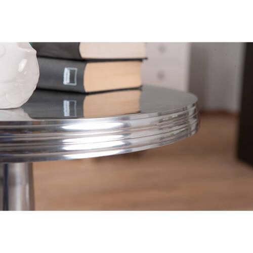 TTable basse ronde de salon NIME d´appoint bout de canapé design ALU