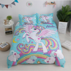 Girls-Unicorn-Bedding-Sets-Angel-Cartoon-Duvet-Cover-Twin-Queen-Size-Blue-Color