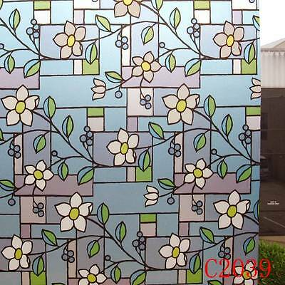 90cmx5m Floral Privacy Frosted Frosting Removable Glass Window Film c1302