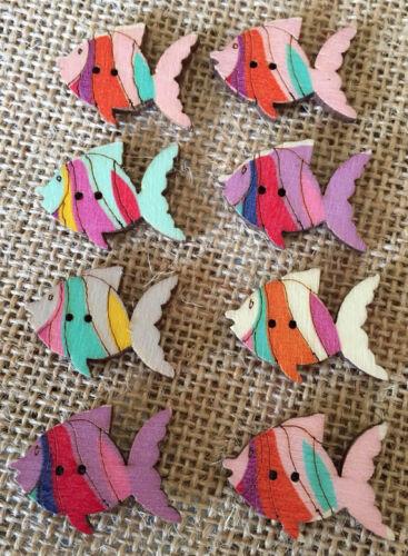 Paquete De 8 Botones De Peces De Color Pastel De Madera