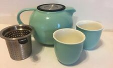 FORLIFE 4 Cup Ceramic Teapot with Stainless Tea Infuser & Lid AND TWO tea cups