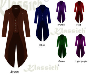 Men-039-s-STEAMPUNK-TAILCOAT-Jacket-Silver-Buttons-3-COLORS-Goth-Victorian