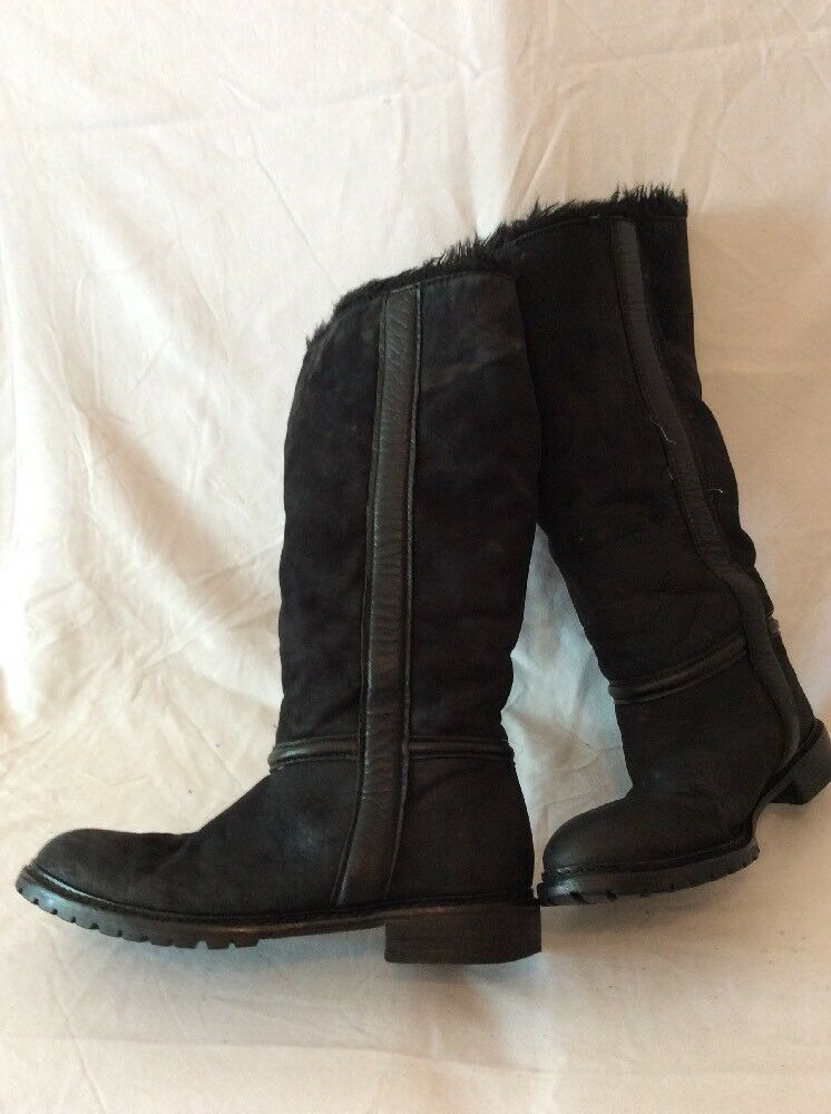 Zara Woman Black Knee High Leather Boots Size 39