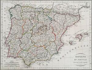 HonnêTeté Carte Espagne Et Portugal Dressés Par P. Lapie Géographe, France Vers 1820 Adopter Une Technologie De Pointe