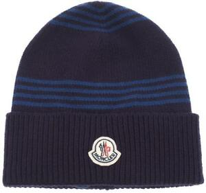 9e278e45c45 Image is loading NEW-MONCLER-PURPLE-LOGO-EMBROIDER-VIRGIN-WOOL-BEANIE-