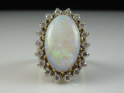 18K Opal Diamond Ring Estate Two-Tone 7.90ctw Solid Fine Jewelry Size 6.25 $5550