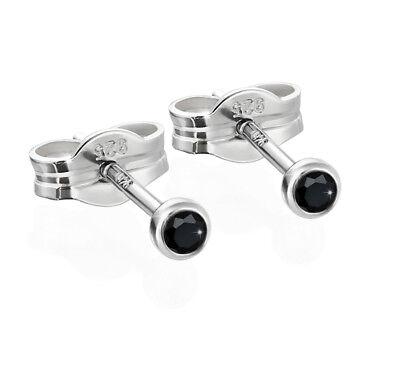 Paar Ohrstecker Silber 925er 2,50mm Schwarz Zirkonia Damen Herren Kinder 6536 Gesundheit Effektiv StäRken