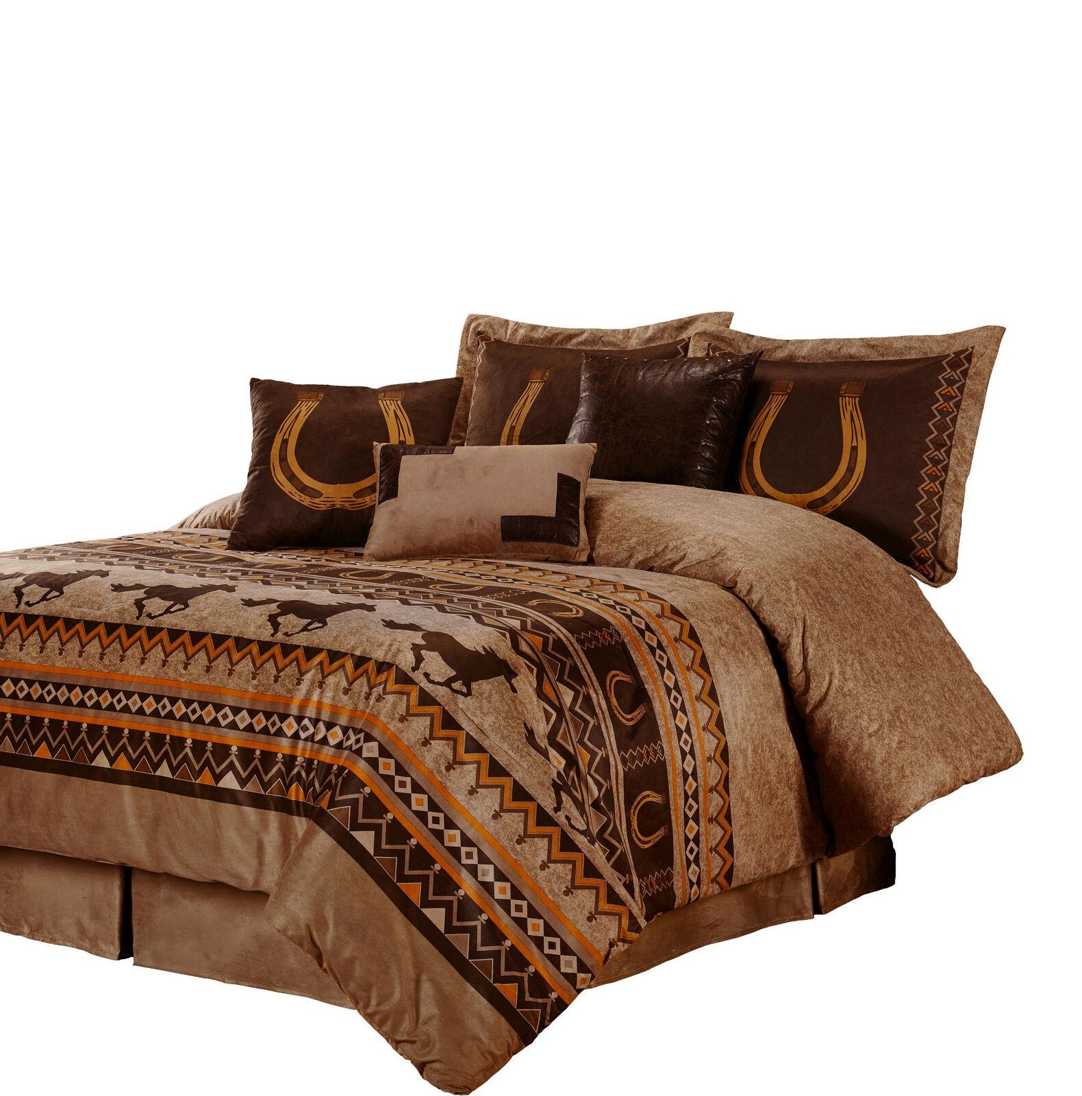 7pcs Southwestern Cabin Lodge Wild Horses Microsuede Marronee Comforter Set, King