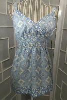Jeanstar Sz S Blue And White Floral Adjustable Straps Cami Blouse