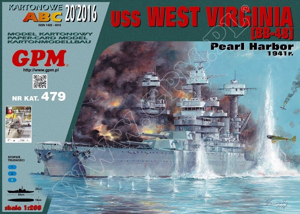 Battleship USS West Virginia (BB-48) card paper model 1 200 huge 95cm