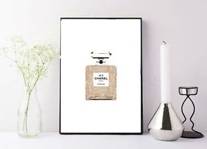 print/poster drawing painting coco chanel gold sparkly perfume bottle print