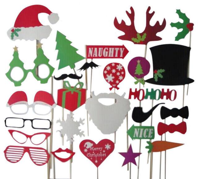 27pcs Christmas Santa Hat Party Funny Masks DIY Photo Booth Props Mustache Stick