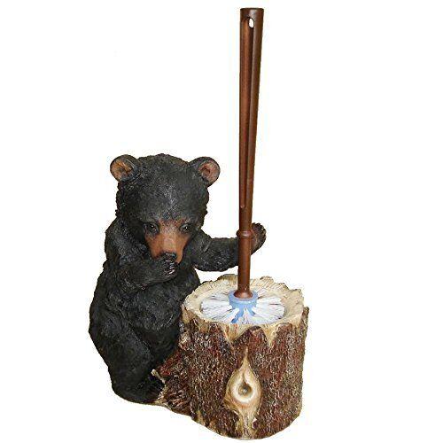 Stinky Bear Resin Toilet Brush and Holder Rustic Lodge Decor