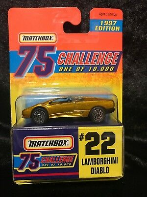 MATCHBOX 1997 EDITION 75 CHALLENGE GOLD ALL GOLD CAR #22 LAMBORGHINI DIABLO